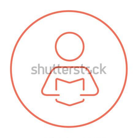 Man holding digital tablet line icon. Stock photo © RAStudio