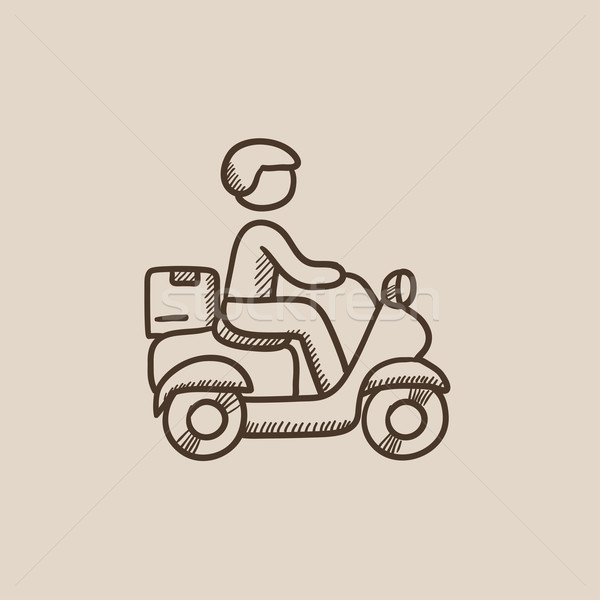 Człowiek towary rowerów szkic ikona Zdjęcia stock © RAStudio