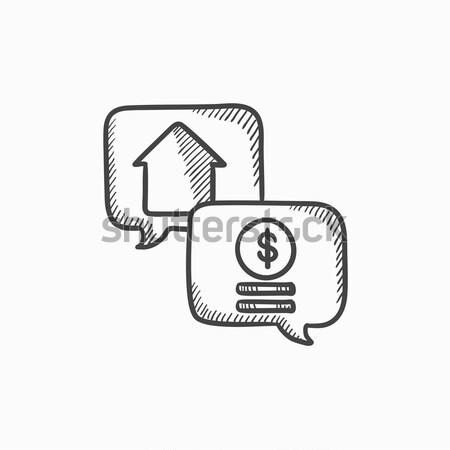 Nieruchomości transakcja szkic ikona internetowych komórkowych Zdjęcia stock © RAStudio