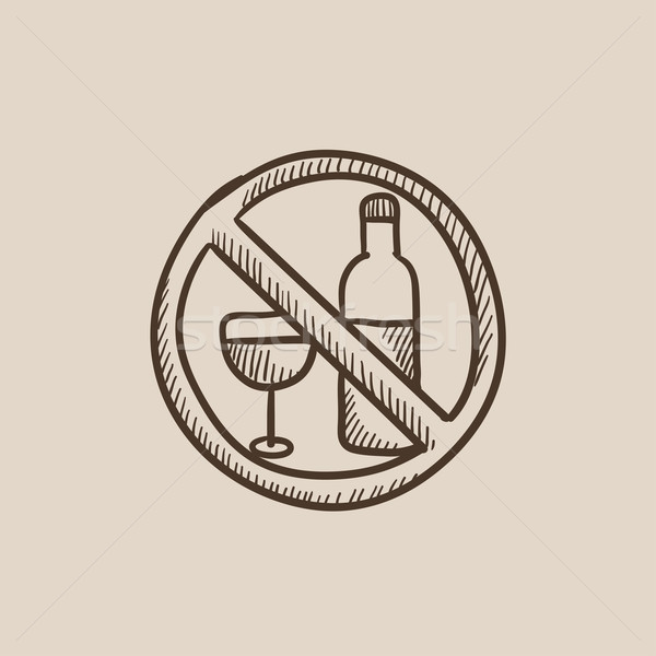 No alcohol signo boceto icono web Foto stock © RAStudio