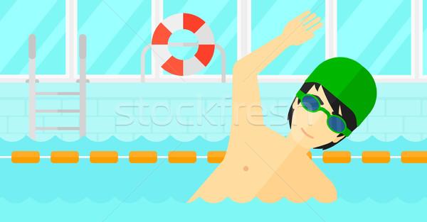 Pływak szkolenia basen asian człowiek Zdjęcia stock © RAStudio
