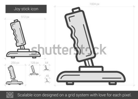 джойстик линия икона уголки веб мобильных Сток-фото © RAStudio
