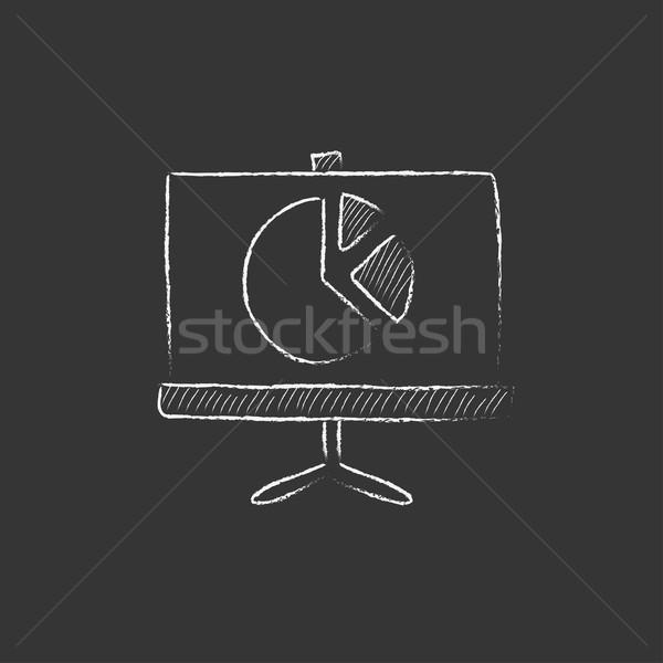 Képernyő kördiagram rajzolt kréta ikon kézzel rajzolt Stock fotó © RAStudio
