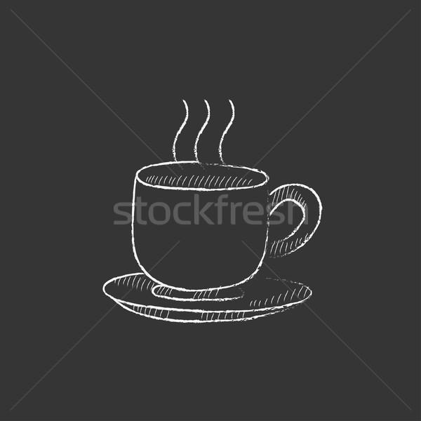 Beker warme drank krijt icon Stockfoto © RAStudio