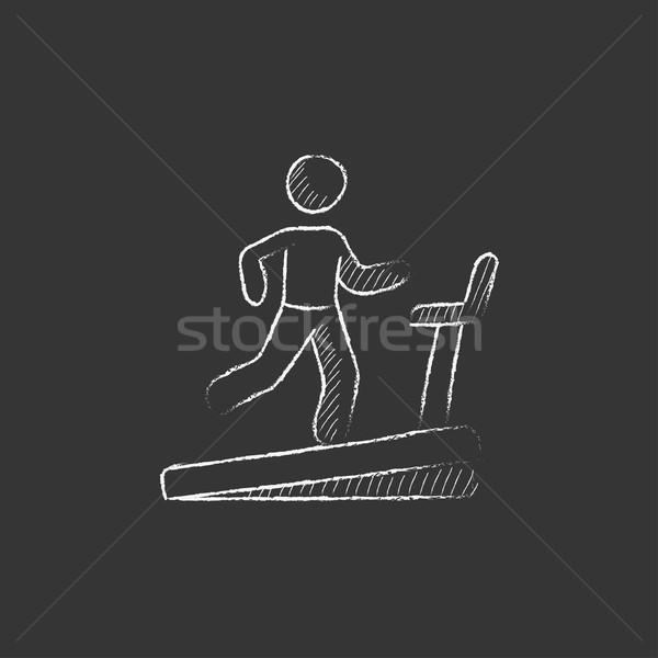 Férfi fut futópad rajzolt kréta ikon Stock fotó © RAStudio