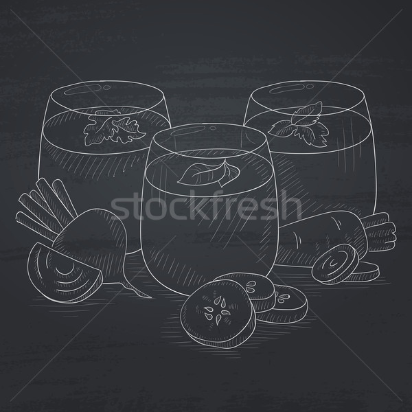 Glasses of freshly squeezed vegetable juices. Stock photo © RAStudio