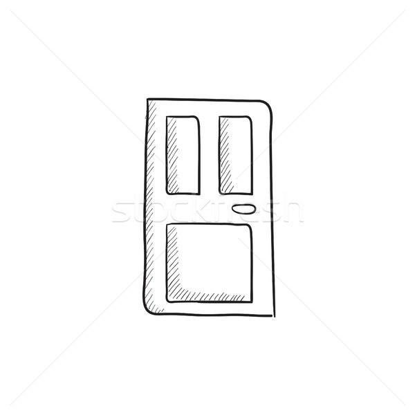 парадная дверь эскиз икона вектора изолированный рисованной Сток-фото © RAStudio