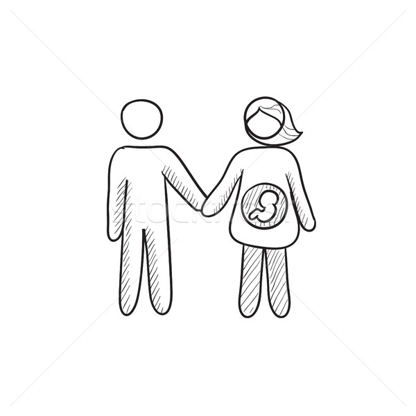 Husband with pregnant wife sketch icon. Stock photo © RAStudio