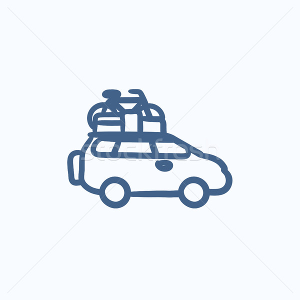 Car with bicycle mounted to the roof sketch icon. Stock photo © RAStudio