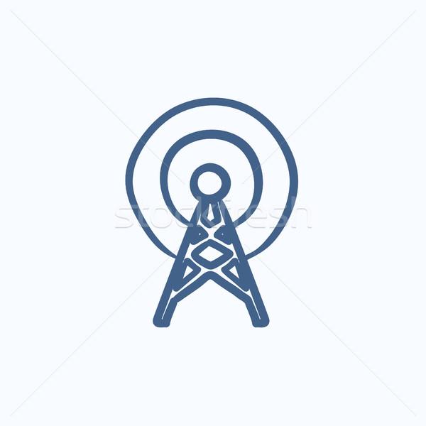 アンテナ スケッチ アイコン ベクトル 孤立した 手描き ストックフォト © RAStudio