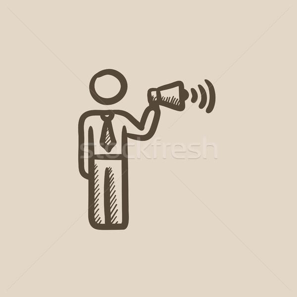 Empresário megafone esboço ícone vetor isolado Foto stock © RAStudio
