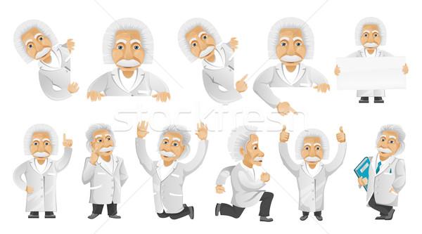 Stock fotó: Vektor · szett · idős · férfi · illusztrációk · barátságos · pózol