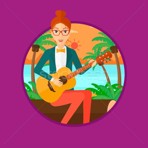 Zenész játszik akusztikus gitár ül nő gyakorol Stock fotó © RAStudio
