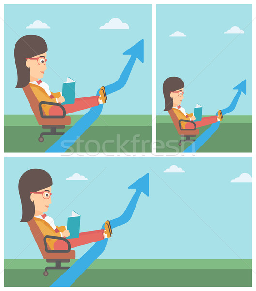 Business woman reading book vector illustration. Stock photo © RAStudio