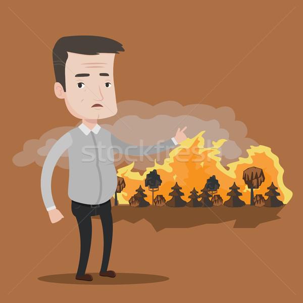 男 立って 野火 ビッグ 森林火災 ストックフォト © RAStudio