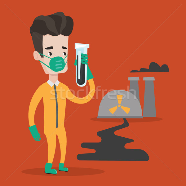 Homem radiação terno test tube em pé nuclear Foto stock © RAStudio