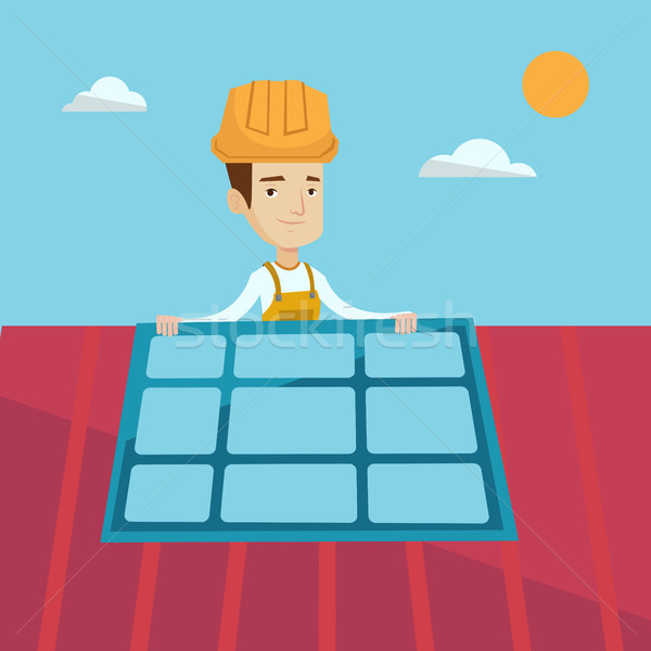 Constructor installing solar panel. Stock photo © RAStudio