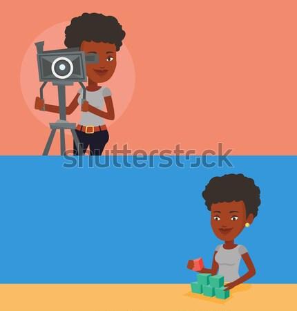Camerawoman with movie camera on tripod. Stock photo © RAStudio