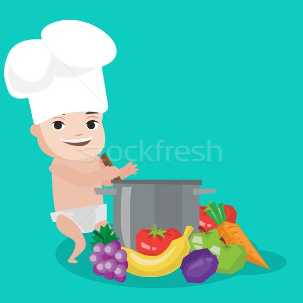 Baba szakács sapka főzés egészséges étel fiú áll Stock fotó © RAStudio