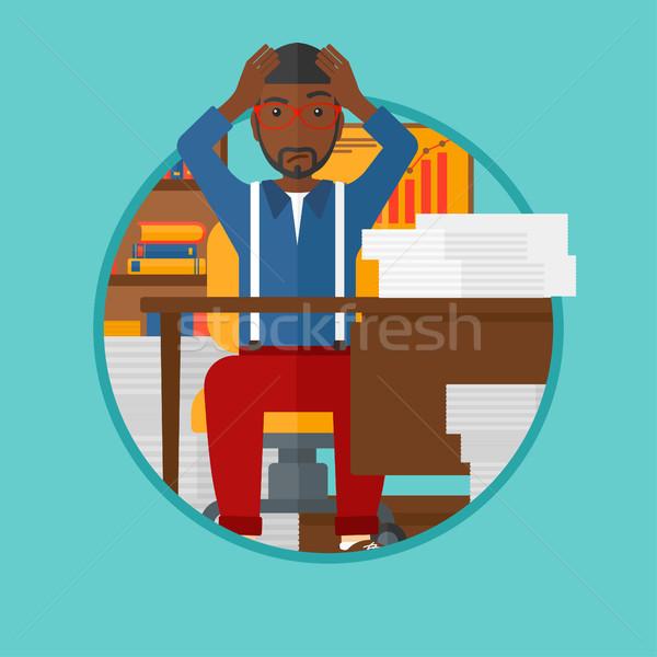 Rozpacz człowiek posiedzenia biuro pracy głowie Zdjęcia stock © RAStudio