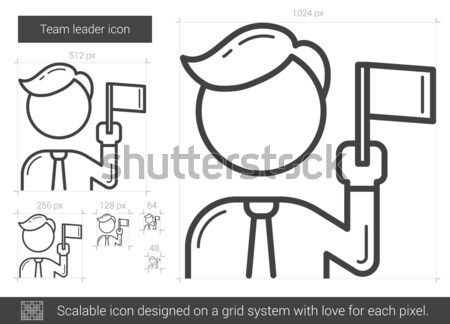 Chef d'équipe ligne icône vecteur isolé blanche Photo stock © RAStudio