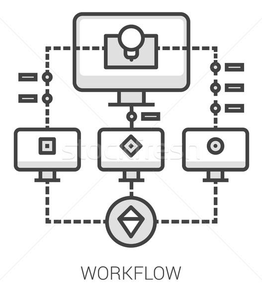 Flusso di lavoro line infografica metafora icone progetto Foto d'archivio © RAStudio