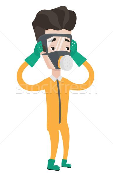 Uomo radiazione suit scienziato indossare testa Foto d'archivio © RAStudio