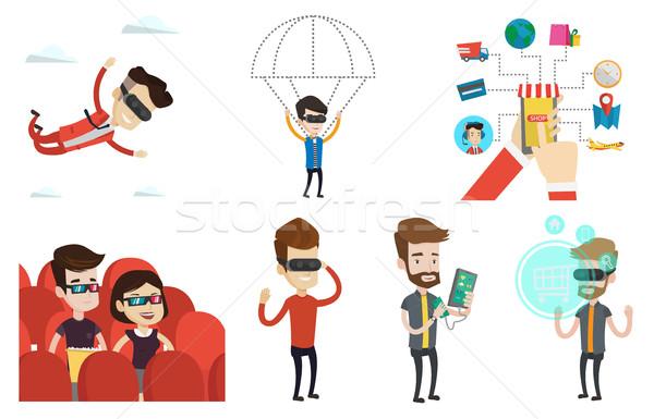 ストックフォト: ベクトル · セット · 人 · 現代 · 技術 · 男