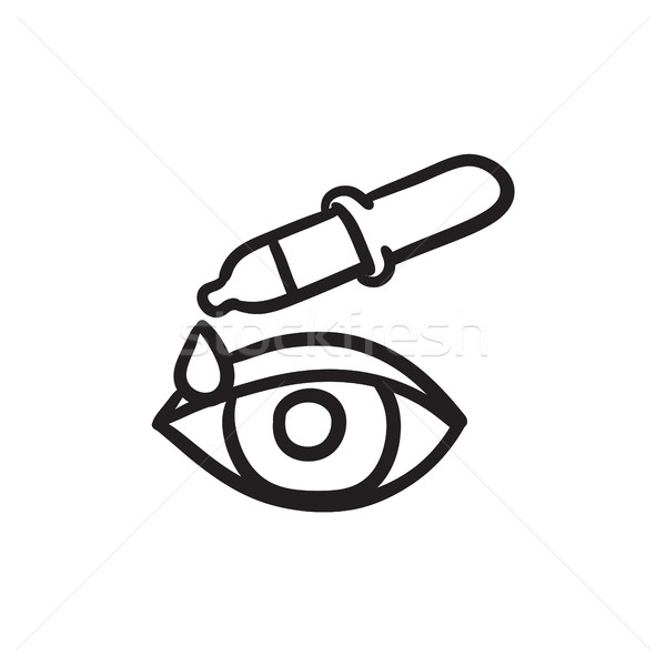Pipette and eye sketch icon. Stock photo © RAStudio