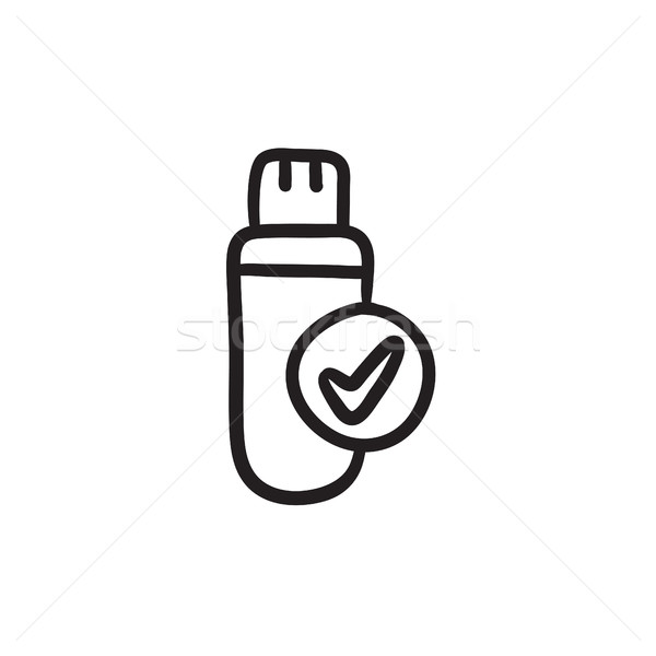 USB flash drive sketch icon. Stock photo © RAStudio