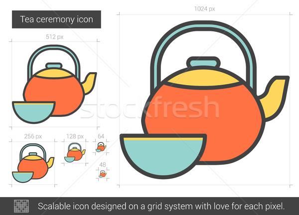 Tea szertartás vonal ikon vektor izolált Stock fotó © RAStudio