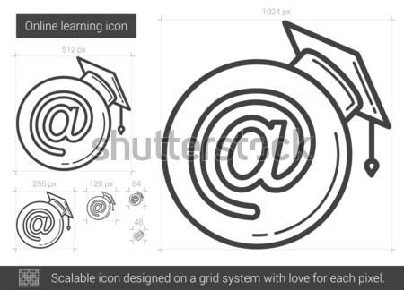 Foto stock: On-line · aprendizagem · linha · ícone · vetor · isolado