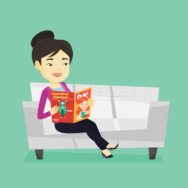 Woman reading magazine on sofa vector illustration Stock photo © RAStudio