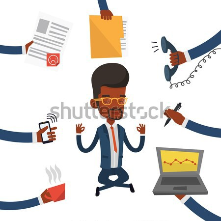 Business man meditating in lotus position. Stock photo © RAStudio