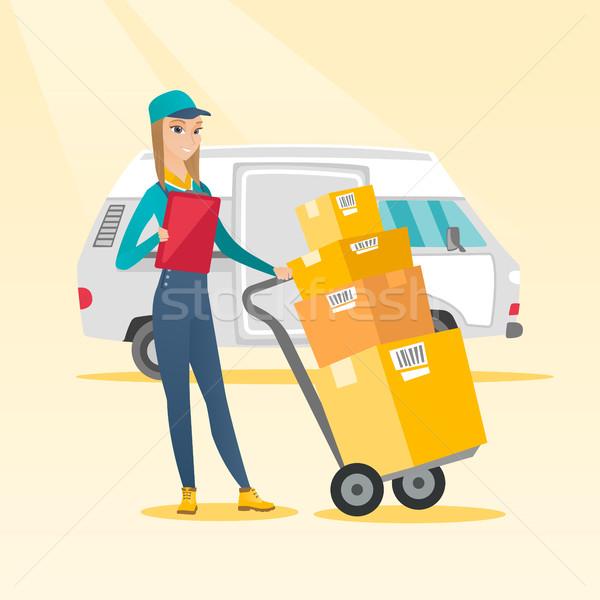 Lieferung Kurier Karton Boxen weiblichen Stock foto © RAStudio