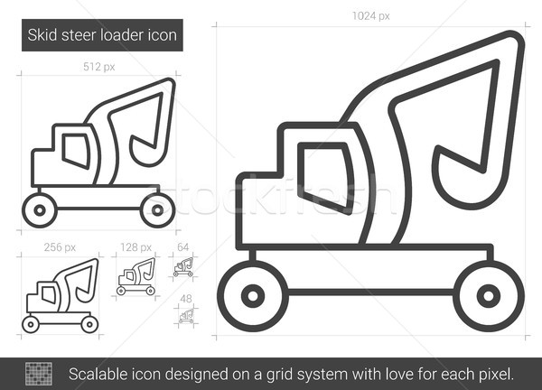 Skid steer loader line icon. Stock photo © RAStudio