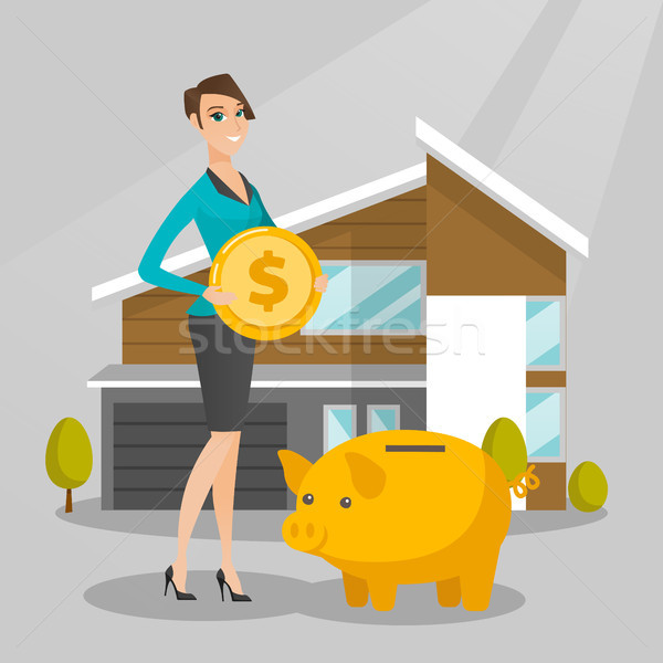 Woman saving money in piggy bank for buying house. Stock photo © RAStudio