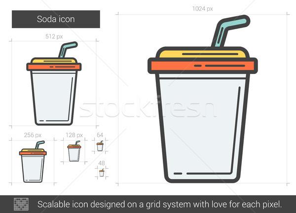 Soda lijn icon vector geïsoleerd witte Stockfoto © RAStudio