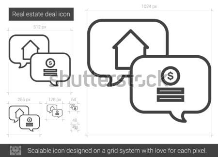 Ingatlan üzlet vonal ikon vektor izolált Stock fotó © RAStudio