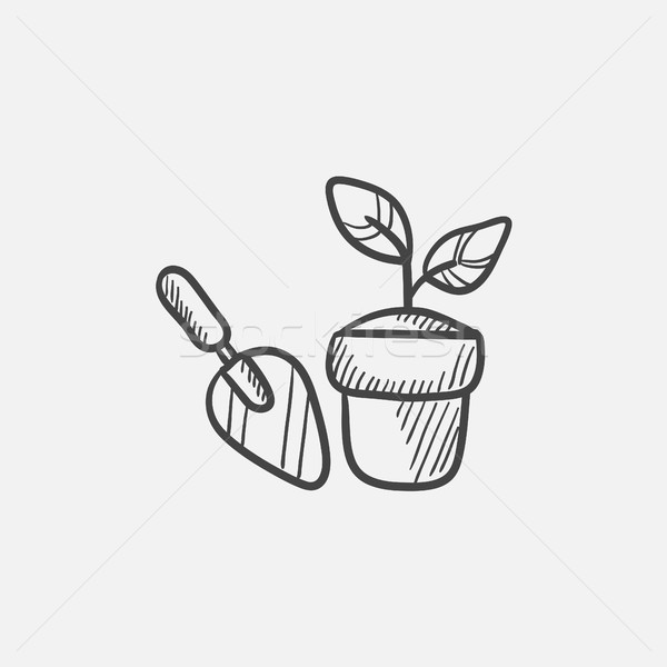 Garden trowel and pot with plant sketch icon. Stock photo © RAStudio