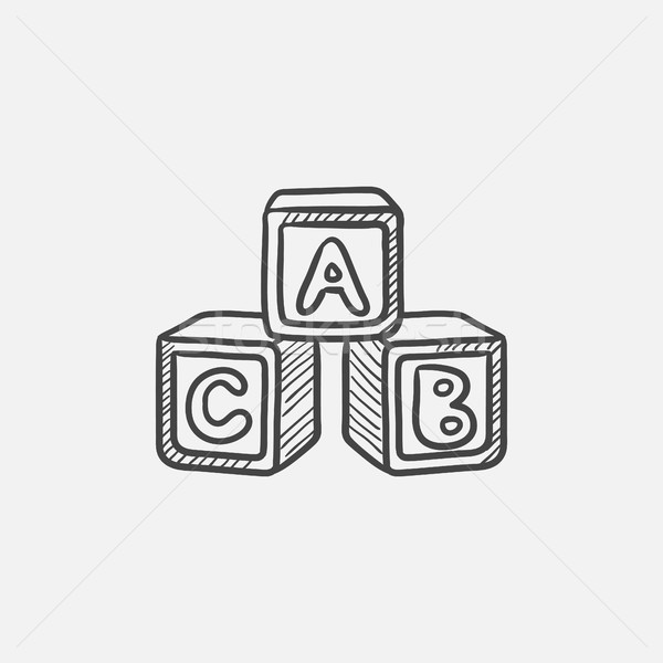 Alfabeto sketch icona web mobile Foto d'archivio © RAStudio
