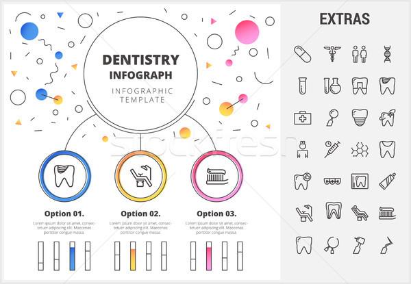 Odontologia modelo elementos ícones círculo Foto stock © RAStudio