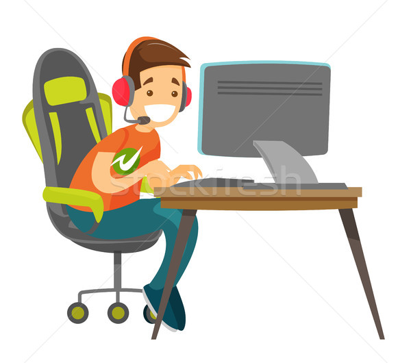 Young caucasian white gamer playing video game. Stock photo © RAStudio