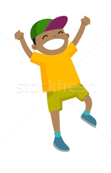 Jongen springen opgeheven handen omhoog opgewonden Stockfoto © RAStudio