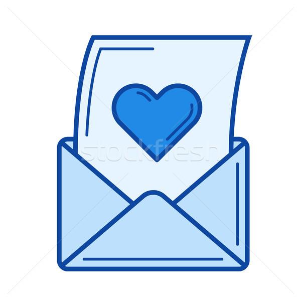 Open love letter line icon. Stock photo © RAStudio
