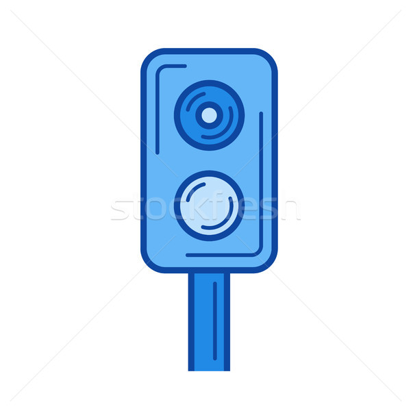 Train traffic light line icon. Stock photo © RAStudio