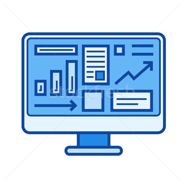 Sprzedaży statystyka line ikona wektora odizolowany Zdjęcia stock © RAStudio