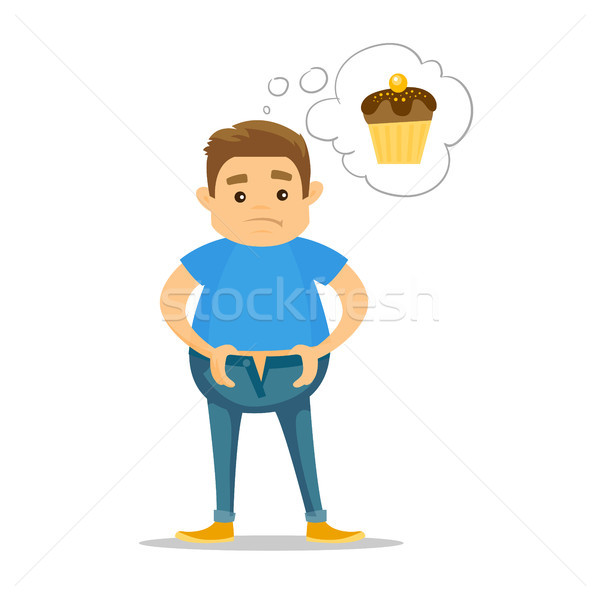 Fat caucasian white man dreaming about cupcake. Stock photo © RAStudio