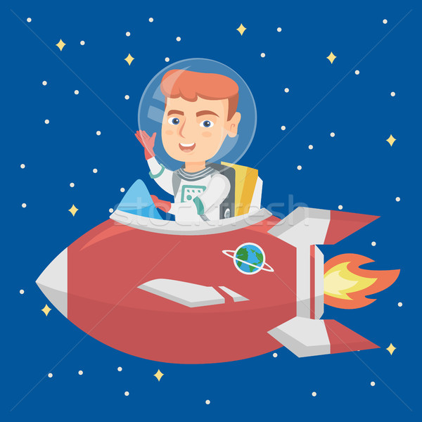 Caucasian smiling boy riding a spaceship. Stock photo © RAStudio