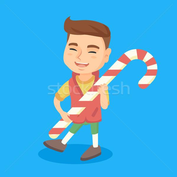 Stockfoto: Kaukasisch · weinig · jongen · christmas · snoep